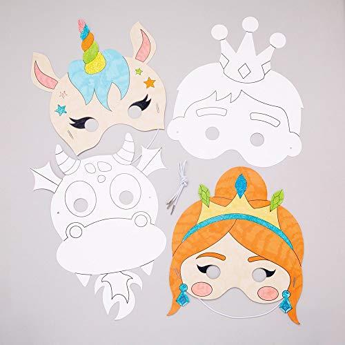"""Baker Ross Masken """"Märchen"""" zum Ausmalen (8 Stück) – Masken mit verschiedenen Märchenmotiven für Kinder zum Gestalten und Verkleiden"""