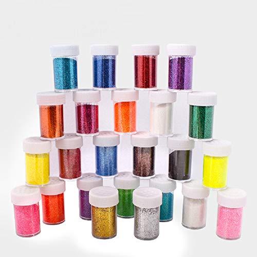 24 x 20g (480g) Feiner Glitzer Bastel Glitzerpulver Set in 24 Farben Glitzerstaub ungiftiges Glitzerpuder für Nägel, Körper, Gesicht, Slime,Kosmetik & Glitzer zum Basteln