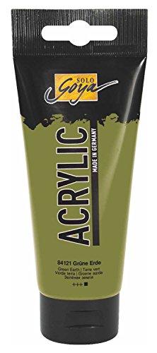 Kreul 84121 - Solo Goya Acrylic, 100 ml Tube in grüne Erde, cremige vielseitig einsetzbare Acrylfarbe in Studienqualität, auf Wasserbasis, schnell und matt trocknend, gut...