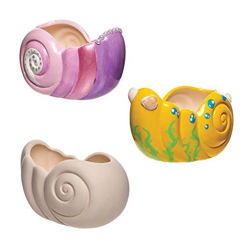 """Baker Ross Keramik-Blumentöpfe """"Muscheln"""" (2 Stück) – Keramik für Kinder zum Bemalen"""