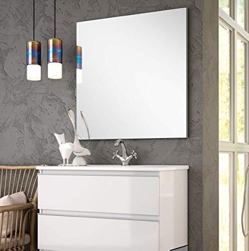 Aquareforma | Mueble de Baño con Lavabo y Espejo | Mueble Baño Modelo Sundee 2 Cajones Suspendido | Muebles de Baño | Diferentes Acabados Color | Varias Medidas (Blanco Brillo, 70 cm)