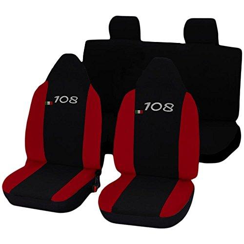 Lupex Shop 108 _ n.R Fundas para Asientos Coche, Negro Rojo