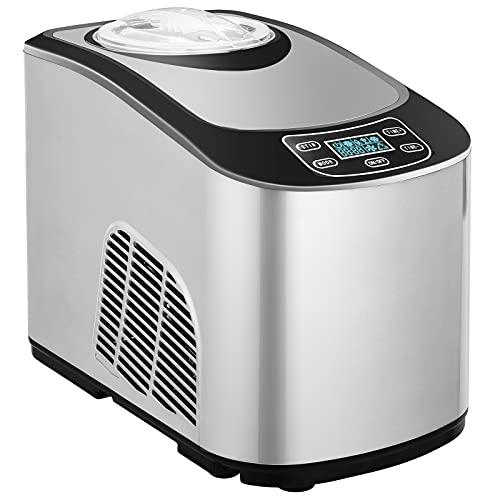 Eismaschine mit Kompressor 140 W,Eismaschine Selbstkühlendem Silber Speiseeisbereiter, LCD-Anzeige, Zwei Möglichkeiten(Weich oder Hart Eiscreme), für Eis und Sorbet