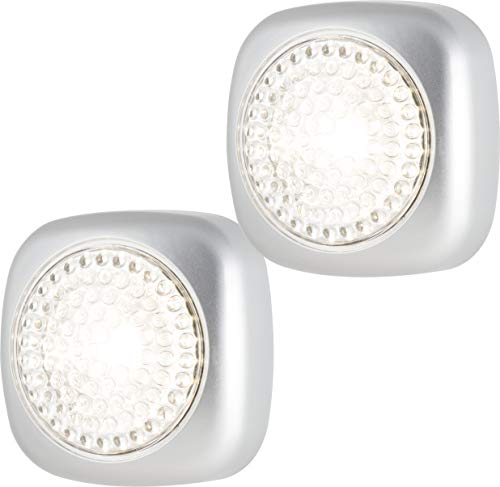 Energizer LED, Battery-Operated, Tap-Activated, Compact, Wall Mountable, for Emergency Closet Light, Mounting Hardware Included, 37107, Square, Sqaure Silver 2-Pack