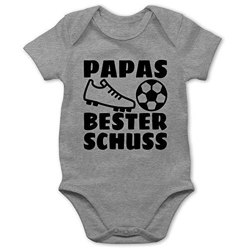 Vatertagsgeschenk Papa Tochter & Sohn Baby - Papas Bester Treffer mit Fussball - schwarz - 1/3 Monate - Grau meliert - Baby Fussball - BZ10 - Baby Body Kurzarm für Jungen und Mädchen