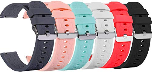 18mm 20mm 22mm Width Silicone Quick Release Wristband Replacement Sports Straps Bracelet Watch Band Women Men Strap with Quick Release Pins for Smartwatch (Six Colors, Width:20mm)