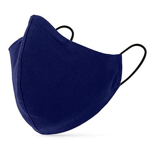 tanzmuster ® Behelfsmaske waschbar für Erwachsene - 100% Baumwolle - Nasenbügel und Filtertasche - Mund und Nasenschutz 2-lagig - OEKO-TEX Standard 100 dunkelblau Größe M Erwachsene