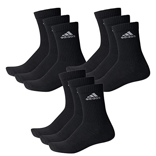 adidas 9 Paar Performance CUSHIONED CREW 3p Tennissocken Sportspocken Unisex, Farbe:Black, Socken & Strümpfe:46-48