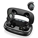 Auricolari Bluetooth, Cuffie Bluetooth Senza Fili Wireless Sportive in-Ear Impermeabile IPX7 Riproduzione 180 Ore TWS CVC 8.0 Cancellazione di Rumore Display LED con Mic Touch Control per iOS Android