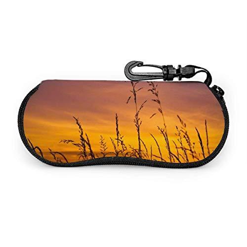 Carneg Gafas de sol portátiles con pastos al atardecer con hebilla de bloqueo Bolsa suave Funda de gafas con cremallera de tela de buceo ultraligera