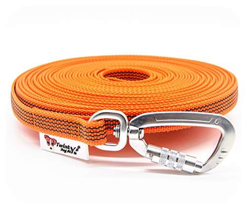 Twinkys Dog Style Made in Germany Schleppleine gummiert mit Sicherheitskarabiner 15 mm breit für Hunde bis 50 kg - MIT Handschlaufe 3 Meter Orange