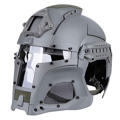 TaiWang Máscara de Nylon ABS Casco, Casco Retro al Aire Libre táctico, Casco de Montar a Caballo de amortiguación Resistente al Impacto,Gris