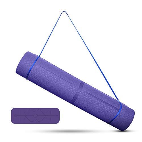Tappetino da yoga, Uong TPE tappetino da ginnastica, tappetino da yoga, antiscivolo, per fitness, pilates e ginnastica, con linee di orientamento del corpo, tracolla, 183 x 61 x 0,6 cm (viola)
