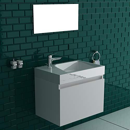 bad1a Vormontiertes Badmöbel-Set in Hochglanz Weiß 60 x 45 cm | Waschbecken mit Überlauf | Design Spiegel 60x 30 cm | Unterschrank mit Soft-Close Funktion | Komplett Set in elegantem Design