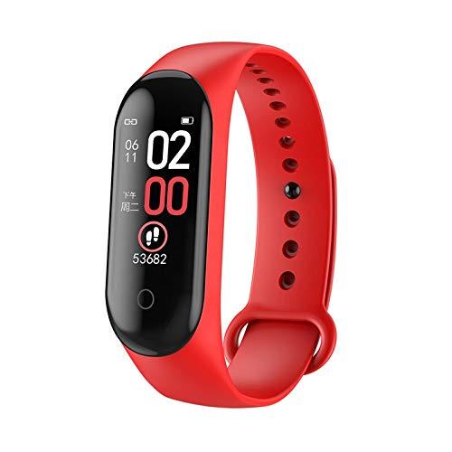 AIREQN 3 Colores M4 Inteligentes Relojes Hombres Mujeres Deportes for la presión SmartWatch Monitor de Ritmo cardíaco Sangre Inteligente Banda (Color : Red)