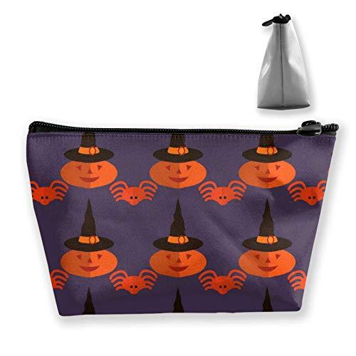 Malvado Pumkin con gorro de bruja () Mujeres Niñas Murciélagos de Halloween púrpura () Bolsa de maquillaje para brochas de maquillaje