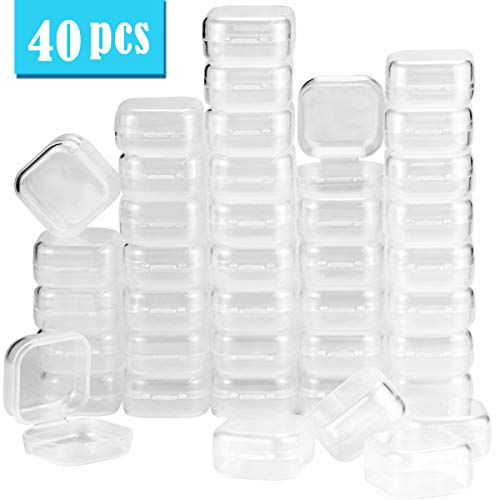 UPlama 40Pack Square Mini Clear Plastic Bead Storage Containers Box with Hinged Lid, Small Box Jewelry Earplugs Storage Box for Items,Earplugs,Pills,Tiny Bead,Jewerlry Findings(1.38x1.38x0.7Inch)