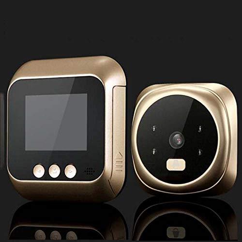 Bradoner Buena Puerta del Espectador con 2,4 Pulgadas TFT LED IR de visión Nocturna Inteligente de vídeo de Seguridad electrónica de la cámara for el hogar (Color : Gold)