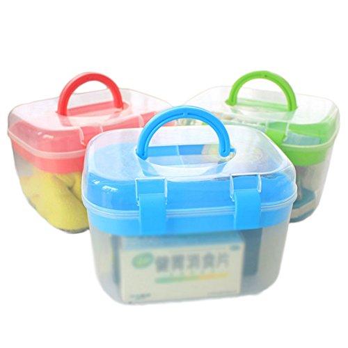 Aufbewahrungsboxen sehr nützlich, Kästchen doppelte Schichten Kunststoff für Kosmetik Nähen-Studie-Bedarf mit Deckel, plastik, 3 Stück, 16.5*13*12