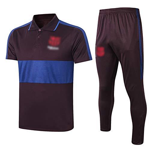 LXZ 20-21 New Temporada Barcelona Fútbol Transporte Uniforme de Manga Corta Rendimiento Transpirable y de Secado rápido Polo Jersey (Camisa de Polo + Pantalones) S-XXL Black-S