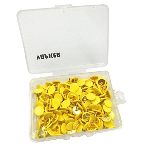 VAPKER 200 PCS Thumb Tacks Yellow Plastic Round Head Thumbtacks