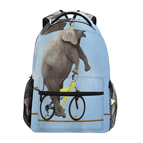 KASMILN Bolsas Ocio,Acrobacia de Elefantes Monta Bicicleta en el Cielo Azul de Alambre,Mochilas para Hombres Mujeres,Bolsas Viaje