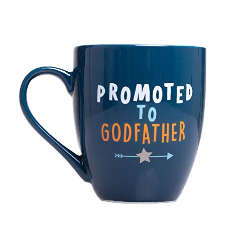 Pearhead Promoted to Godfather Mug, Best Godfather Gifts, Blue