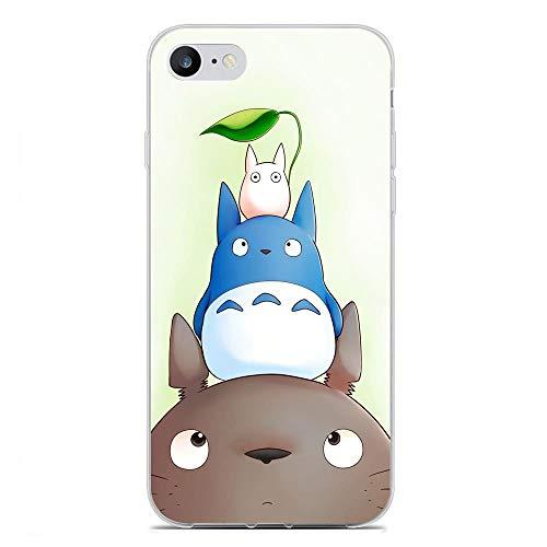 X-Art Transparent Fundas Slim Silicone Liquid Flexible Case Cover for Apple iPhone 6/6s Plus, Totoro-Anime Neighbor-Cat 7