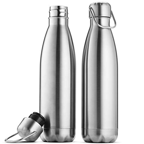 Premium Stainless Steel Water Bottle (Set of 2) 17 Ounce, Sleek Insulated Water Bottle, Keeps Hot and Cold, Leakproof BPA Free Lids, Sweat Proof Water Bottles, Great for Travel, Picnic, Camping Etc.