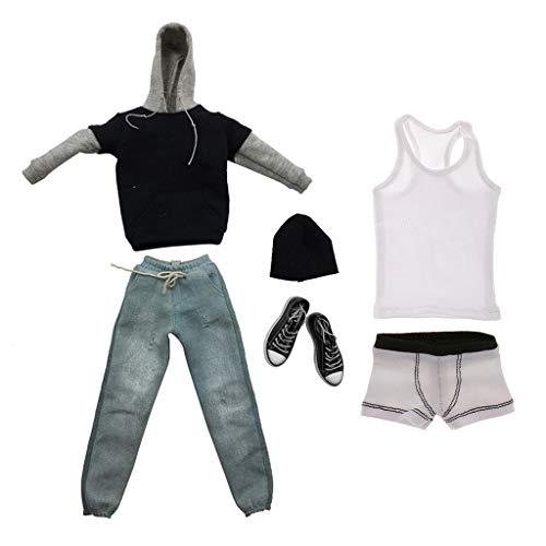 Homyl 1/6 Männliche Action Figur Kleidung Set - Schwarze langärmelig T-Shirt & Dunkelblau Jeans Hosen