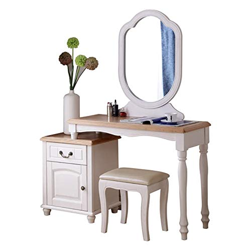 Fantastic Prices! KoTag Dressing Table with Stool and Mirror Personality Vanity Table,Solid Wood Mak...