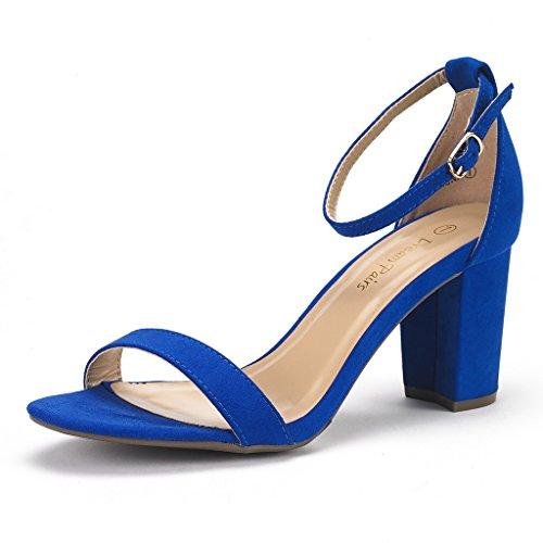 Dream Pairs Chunk Sandalias de Tacón Alto Vestir Moda Punta Abierta Correa Tobillo para Mujer Azul Real 41 EU/10 US