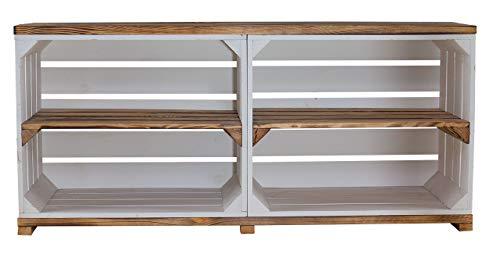 Obstkisten-online 1x Sideboard AUßEN WEIß, INNEN GEFLAMMTES Holz, auf Rollen mit 4 Fächern - NEU - 100x30x50 cm - idealer TV Schrank/Bank