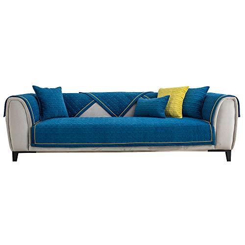 YUTJK Funda se Puede Empalmar de Sofá Funda para sofá Antideslizante Protector Cubierta de Muebles, Funda de cojín de Terciopelo cálido, para Invierno, Azul