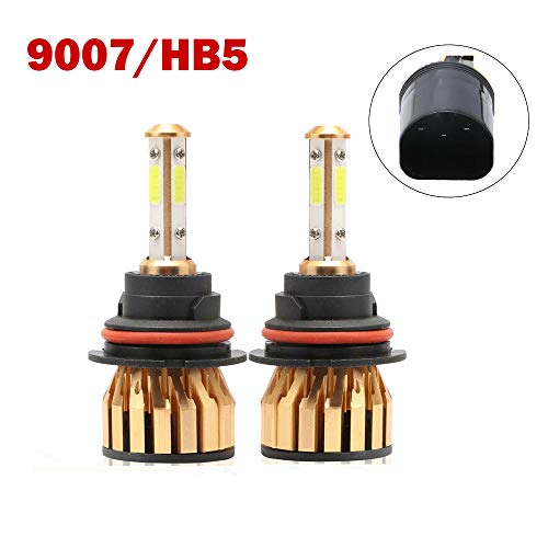 9007 HB5 LED Headlight Bulb 200W 20000LM 6500K Cool White 4-sides LED Chips High Low Beam Fog Light Driving Car Headlamp Plug and Play Coversion Kit (1 Pair)