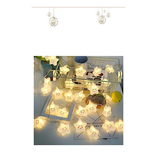 LY-JFSZ Guirlande Lumineuse,Étoile Forme Patio De Mariage Café Décoration Éclairage De Noël À L'extérieur des Lumières De Jardin Décorations 3M 20LED USB Accès Chaud Blanc