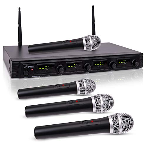 Pyle 4 Channel Wireless Microphone System-Portable UHF Audio Set with XLR Jack-4 Handheld Dynamic Mic, Receiver, Dual Antenna, Power Cable Adapter-for Karaoke, PA, DJ Party Pro PDWM4520