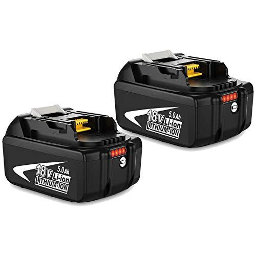 2X Topbatt Repuesto para Batería 18V BL1850B BL1860B BL1860 BL1850 BL1840B BL1840 BL1830B BL1830 BL1820 BL1815 BL1825 BL1835 BL1845 LXT-400 con indicador LED
