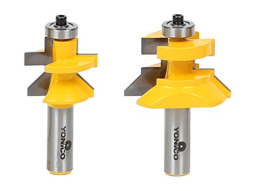 Yonico Router Bits Set Tongue and Groove Flooring 2 Bit Flooring 1/2-Inch Shank 15227