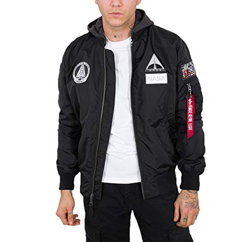 ALPHA INDUSTRIES Herren MA-1 TT Hood NASA, Black, Xxl Regular