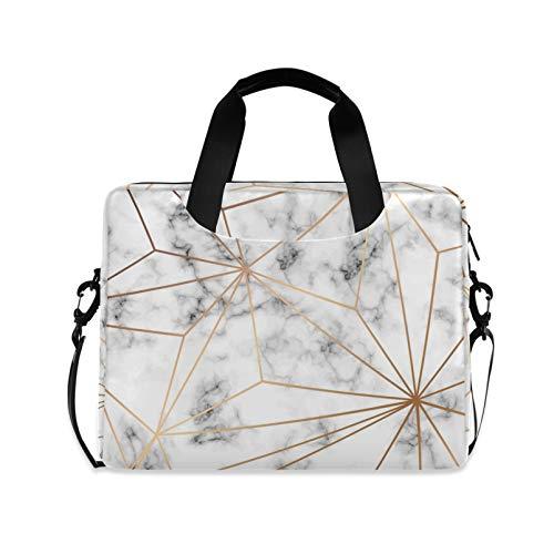 RELEESSS Laptop Sleeve Geometric Marble Laptop Handbag Briefcase Messenger Carrying Case Bag Adjustable Shoulder Strap for 13-16 Inch