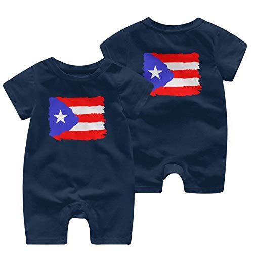 Monos sin Mangas para bebé Bandera de Puerto Rico-1 Mono de Manga Corta para niños recién Nacidos Mono Ropa de bebé 0-24 Meses