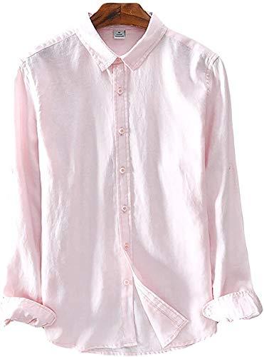 Icegrey Camicia Uomo Camicie di Lino a Maniche Lunghe Camicie da Spiaggia Rosa 42