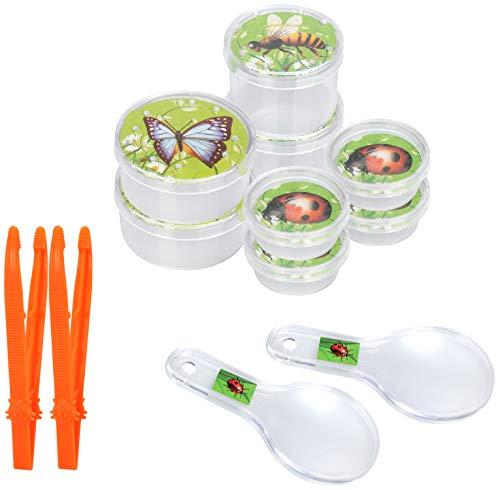 COM-FOUR® 2x onderzoeksset voor kinderen - insectenvangset met vergrootglas, tang en verzamelboxen - ontdekkingsset voor kinderen - educatief speelgoedbiologie (02 stuks - set 3)