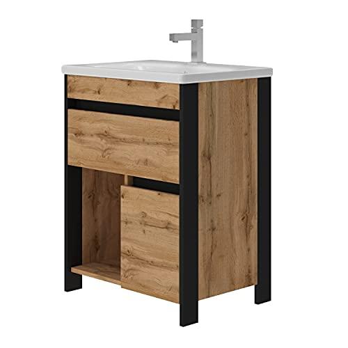 EiNSTEiN Möbel Waschtisch Bronx montiert | Waschbecken aus Keramik | mit Ablaufgarnitur | Schwarz mit Eiche Optik | Soft-Close Funktion | Unterschrank | Montagefertig | Bad | 65cm breit