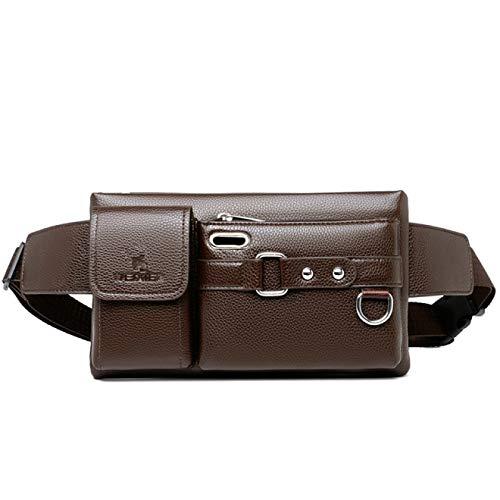 Bum Bag Hombres Cintura Packs Bolsas Color Sólido Multiusos Pu Bolso De Pecho Moda Negro/Marrón Crossbody Bolso
