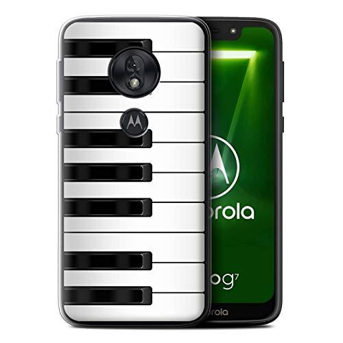 eSwish Gel TPU Hülle/Case für Motorola Moto G7 Play/Klavier/Piano Muster/Schaltfläche/Tasten Kollektion