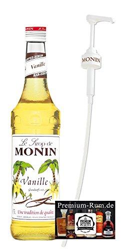 Monin Sirup Vanille 0,7l inkl. Dosierpumpe PiHaMi® Set incl. Premium-Rum Displaycleaner