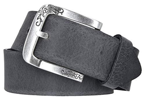 Mytem-Gear Damen Gürtel Leder Belt Ledergürtel Rindleder 40 mm Damengürtel kürzbar (105 cm, Grau)