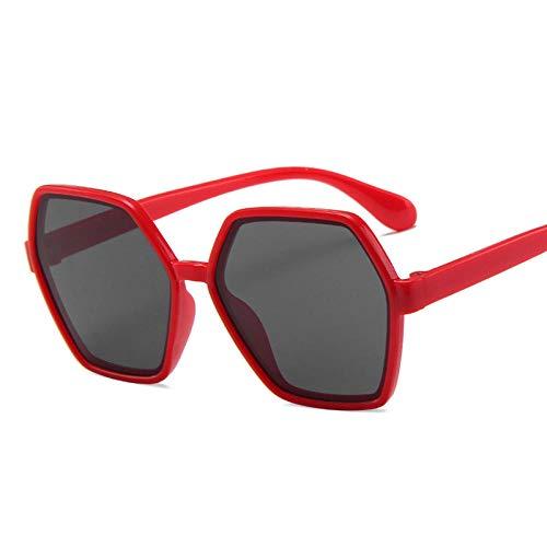 DLSM Precioso Hexagonal Niño Gafas de Sol Color Color Color Personalidad Redondo Gafas de Sol Bebé Anti-UV Gafas Linda Forma de Concavo Salvaje-Gris Rojo